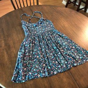 Small Hollister Floral Cross Strap Back Dress